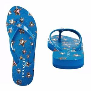 955f3e53383 Coach Shoes - Coach Women s Abbigail Blue Stars Flip Flops